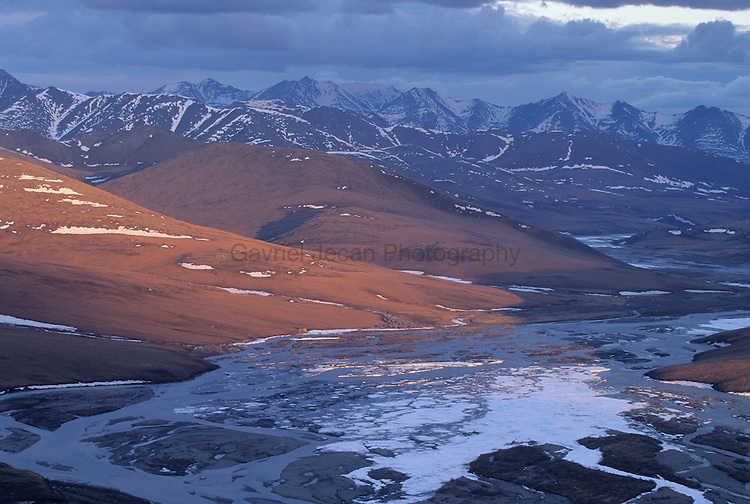 Brooks Range view and river  in the Arctic National  Wildlife Refuge..