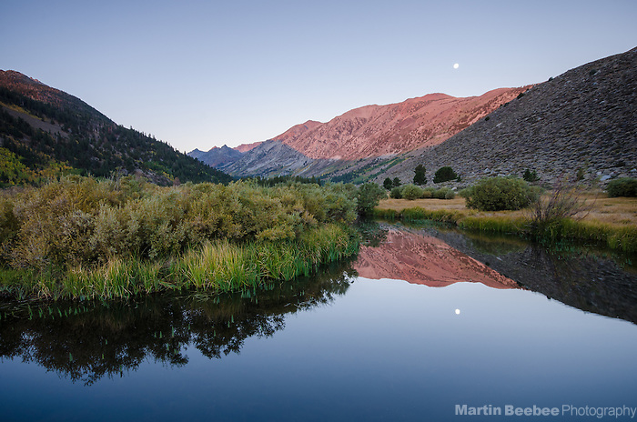 Full moon and alpenglow over Green Creek, Green Creek Wildlife Area and Toiyabe National Forest, California