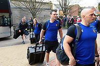 Damien Kelly and the rest of Bath Rugby arrive for the match. Gallagher Premiership match, between Gloucester Rugby and Bath Rugby on April 13, 2019 at Kingsholm Stadium in Gloucester, England. Photo by: Patrick Khachfe / Onside Images