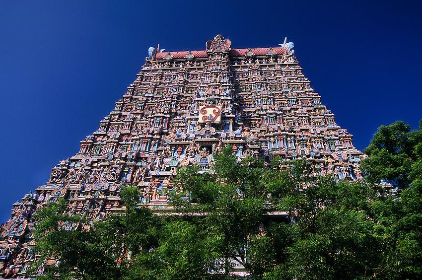 Deities on gopuram (tower) at the Sri Meenakshi (Hindu temple) in Madurai, Tamil Nadu, India