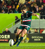 4th November 2017, Welford Road, Leicester, England; Anglo-Welsh Cup, Leicester Tigers versus Gloucester;  Tigers captain Joe Ford kicks from the centre spot to restart the game