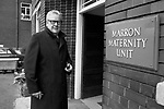 Dr Patrick Steptoe outside the Marron Maternity Unit, Oldham Hospital Lancashire, where Louise Brown was conceived by IVF 1978.