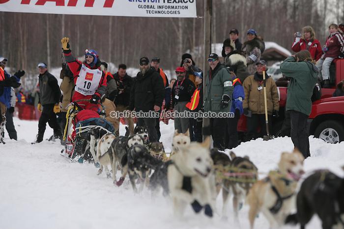 Blind musher Rachael Scordis leaves the Willow Restart line as the last musher to leave.  2005 Iditarod Sled Dog Race