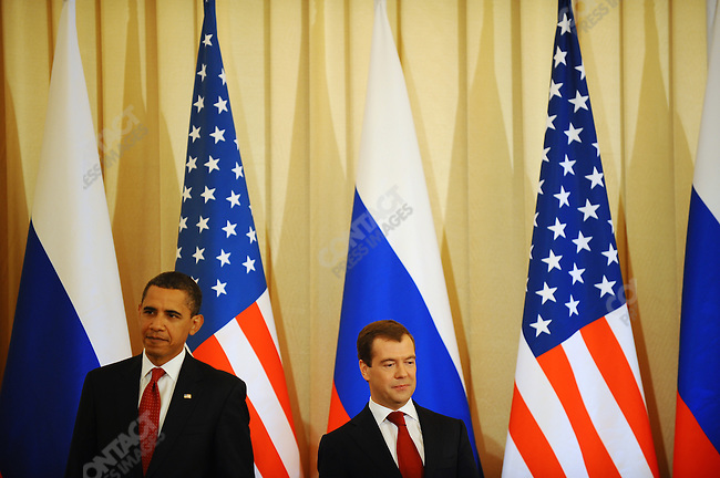 President Obama and President Medvedev at their press conference at the Kremlin in Moscow, Russia. July 6, 2009
