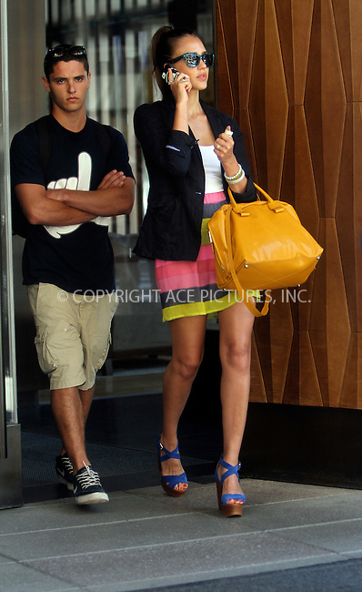 WWW.ACEPIXS.COM......July 25 2012, New York City....Actress Jessica Alba leaves her Soho hotel on July 25 2012 in New York City......By Line: Nancy Rivera/ACE Pictures......ACE Pictures, Inc...tel: 646 769 0430..Email: info@acepixs.com..www.acepixs.com