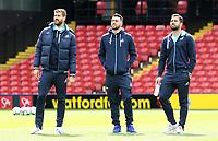 Fernando Llorente, Borja Baston and Jordi Amat of Swansea City looks around Vicarage Road Stadium prior to kick off of the Premier League match between Watford and Swansea City at Vicarage Road Stadium, Watford, England, UK. Saturday 15 April 2017