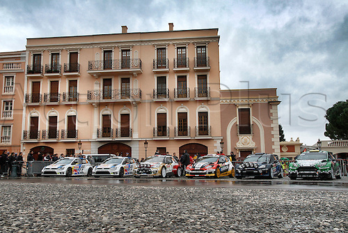 18.01.2014. Monte Carlo, Monaco. The WRC Monte Carlo rally conclusion.  Rally cars parked in the central palace square