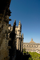 View of Seville Cathedral from the Giralda Tower, Seville, Andalusia, Spain.
