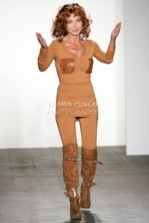 Fashion designer Eva Minge, thanks audience for attending the Eva Minge Spring Summer 2011 SOLIDARITY Collection fashion show, during Mercedes-Benz Fashion Week, September 15, 2010.