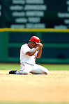 28 August 2005: Jose Guillen, outfielder for the Washington Nationals, is out at second in a game against the St. Louis Cardinals. The Cardinals defeated the Nationals 6-0 at RFK Stadium in Washington, DC. Mandatory Photo Credit: Ed Wolfstein.