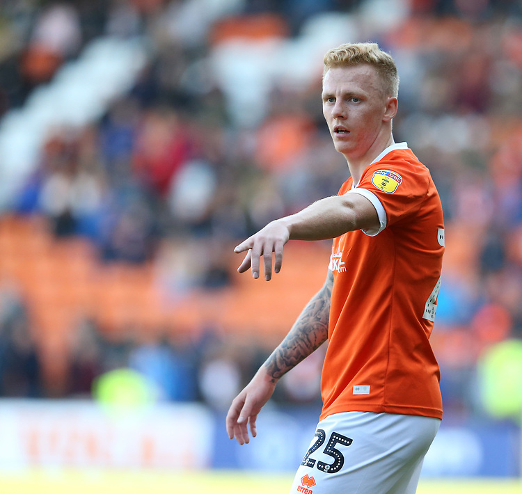 Blackpool's Callum Guy<br /> <br /> Photographer Stephen White/CameraSport<br /> <br /> The EFL Sky Bet League One - Blackpool v Portsmouth - Saturday 31st August 2019 - Bloomfield Road - Blackpool<br /> <br /> World Copyright © 2019 CameraSport. All rights reserved. 43 Linden Ave. Countesthorpe. Leicester. England. LE8 5PG - Tel: +44 (0) 116 277 4147 - admin@camerasport.com - www.camerasport.com