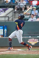 Ronnie Dawson (4) of the Buies Creek Astros follows through on his swing against the Winston-Salem Dash at BB&T Ballpark on May 5, 2018 in Winston-Salem, North Carolina. The Dash defeated the Astros 6-2. (Brian Westerholt/Four Seam Images)