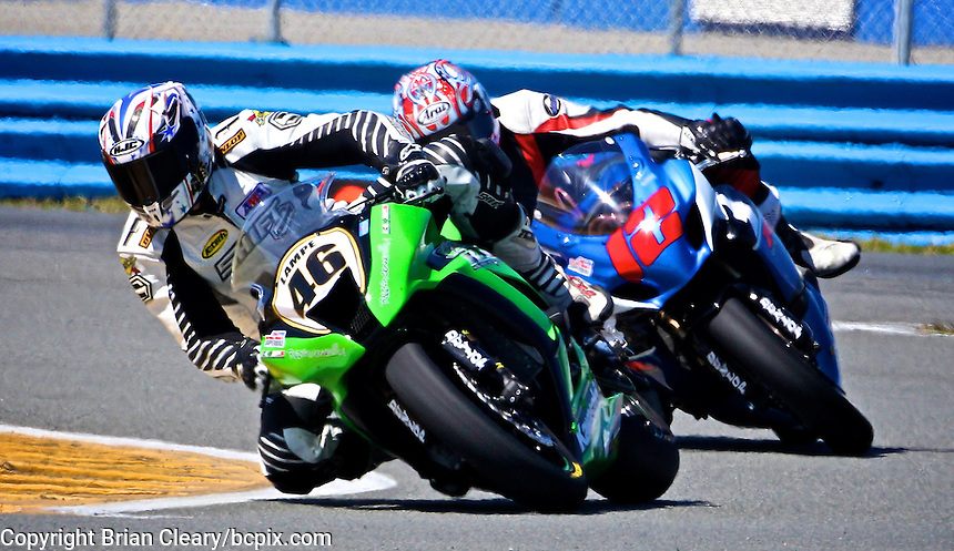 Jeffrey Lampe (46) leads another rider during the AMA SuperBike motorcycle race at Daytona International Speedway, Daytona Beach, FL, March 2011.(Photo by Brian Cleary/www.bcpix.com)