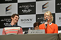 Andrew Garfield and Emma Stone, Jun 13, 2012 : Tokyo, Japan - Emma Stone speaks at a news conference in Tokyo on Wednesday, June 13, 2012. At left is Andrew Garfield. The American film stars were in town along with director Marc Webb and Rhys Ifans to promote a June 23 world premiere of The Amazing Spider-Man.  (Photo by Natsuki Sakai/AFLO)