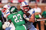 North Texas Mean Green linebacker KD Davis (23) in action during the game between the UNT Mean Green and the SMU Mustangs at the Gerald J. Ford Stadium in Fort Worth, Texas.