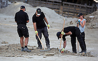 Pictured: Specialist search officers go through rubble by the farmhouse where Ben Needham disappeared from in Kos, Greece. Monday 10 October 2016<br /> Re: Police teams led by South Yorkshire Police are searching for missing toddler Ben Needham on the Greek island of Kos.<br /> Ben, from Sheffield, was 21 months old when he disappeared on 24 July 1991 during a family holiday.<br /> Digging has begun at a new site after a fresh line of inquiry suggested he could have been crushed by a digger.