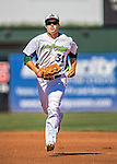 5 September 2016: Vermont Lake Monster outfielder Tyler Ramirez returns to the dugout during a game against the Lowell Spinners at Centennial Field in Burlington, Vermont. The Lake Monsters defeated the Spinners 9-5 to close out their 2016 NY Penn League season. Mandatory Credit: Ed Wolfstein Photo *** RAW (NEF) Image File Available ***