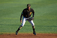 Bristol Pirates shortstop Victor Ngoepe (5) during a game against the Bluefield Blue Jays on July 26, 2018 at Bowen Field in Bluefield, Virginia.  Bristol defeated Bluefield 7-6.  (Mike Janes/Four Seam Images)