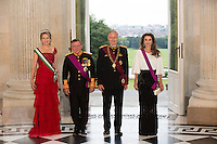 Queen Rania & King Abdullah II attend Royal Dinner Gala Laeken royal Palace in Brussels - Belgium