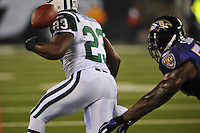 In the inaugural Monday Night Football game at the New Meadowlands Stadium the Baltimore Ravens defeated the New York Jets 10 -9 in their 2010 season home opener.