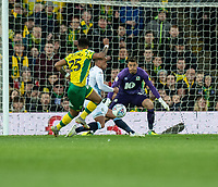 Blackburn Rovers' Elliott Bennett (centre) blocks Norwich City's Onel Hernandez attack<br /> <br /> Photographer David Horton/CameraSport<br /> <br /> The EFL Sky Bet Championship - Norwich City v Blackburn Rovers - Saturday 27th April 2019 - Carrow Road - Norwich<br /> <br /> World Copyright © 2019 CameraSport. All rights reserved. 43 Linden Ave. Countesthorpe. Leicester. England. LE8 5PG - Tel: +44 (0) 116 277 4147 - admin@camerasport.com - www.camerasport.com