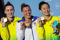 Picture by Alex Whitehead/SWpix.com - 13/04/2018 - Commonwealth Games - Diving - Optus Aquatics Centre, Gold Coast, Australia - Grace Reid of Scotland wins Gold in the Women's 1m Springboard final, Silver - Australia's Georgia Sheehan, Bronze - Australia's Esther Qin.
