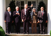 "United States President Bill Clinton poses with Middle East Leaders prior to the signing of the ""Oslo 2"" Accord on September 28, 1995.  From left to right:  King Hussein of Jordan; Prime Minister Yitzhak Rabin of Israel; President Clinton; Chairman Yasser Arafat of the Palestinian Authority; and President Hosni Mubarak of Egypt..Credit: Arnie Sachs / CNP."