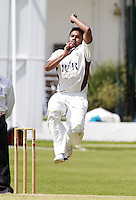 Maruf Chowdhury bowls for North Middlesex during the ECB Middlesex Premier League game between North Middlesex and Brondesbury at Park Road, Crouch End on Sat June 21, 2014.