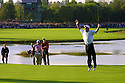 2002 Ryder Cup, The Belfry, Sutton Coldfield, England. Paul McGinley of Team Europe sinks the winning putt on the 18th green to win the Ryder Cup ©PHIL INGLIS
