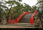 Taiko Bashi Drum Bridge, Koma-inu Lion Dogs, Sumiyoshi Taisha Grand Shrine, Osaka, Japan