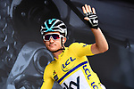 Race leader Michal Kwiatkwoski (POL) Team Sky Maillot Jeune at sign on before the start of Stage 2 of the 2018 Criterium du Dauphine 2018 running 181km from Montbrison to Belleville, France. 5th June 2018.<br /> Picture: ASO/Alex Broadway | Cyclefile<br /> <br /> <br /> All photos usage must carry mandatory copyright credit (&copy; Cyclefile | ASO/Alex Broadway)