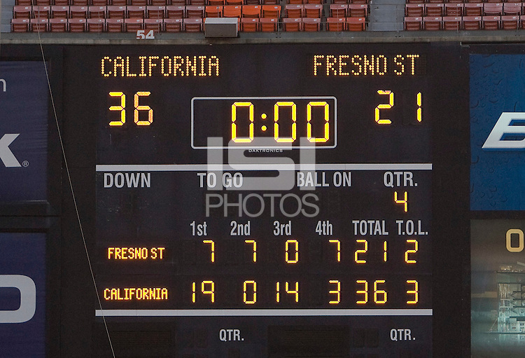 A final score on the scoreboard after the game between California and Fresno State at Candlestick Park in San Francisco, California on September 3rd, 2011.  California defeated Fresno State, 36-21.
