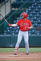 Jose Reyes (12), of the AZL Angels, at bat during an Arizona League game against the AZL Padres 1 on August 5, 2019 at Tempe Diablo Stadium in Tempe, Arizona. AZL Padres 1 defeated the AZL Angels 5-0. (Zachary Lucy/Four Seam Images)