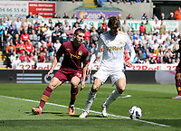Pictured L-R: Matija Nastasic of Manchester City closely marking Michu of Swansea. Saturday 04 May 2013<br />