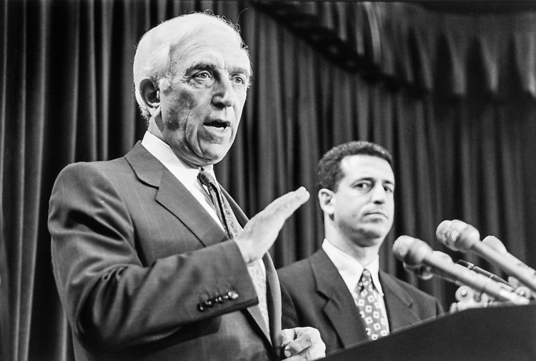 Close-up of Sen. Frank Lautenberg, D-N.J. and Sen. Russ Feingold, D-Wis. on April 13, 1998. (Photo by Laura Patterson/CQ Roll Call)