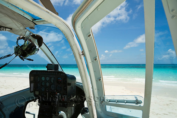 Helicopter on Vlassof Cay - a sand cay off the coast of Cairns.  Great Barrier Reef Marine Park, Queensland, Australia