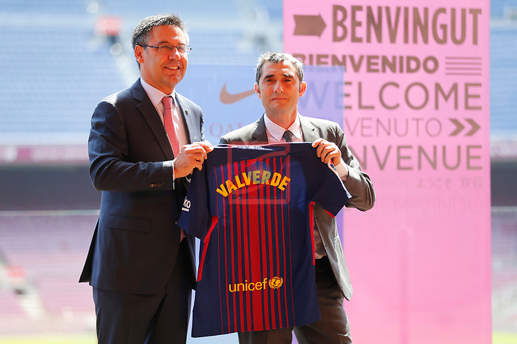 Presentation of Ernesto Valverde as new Coach of FC Barcelona.<br /> Josep Maria Bartomeu &amp; Ernesto Valverde.