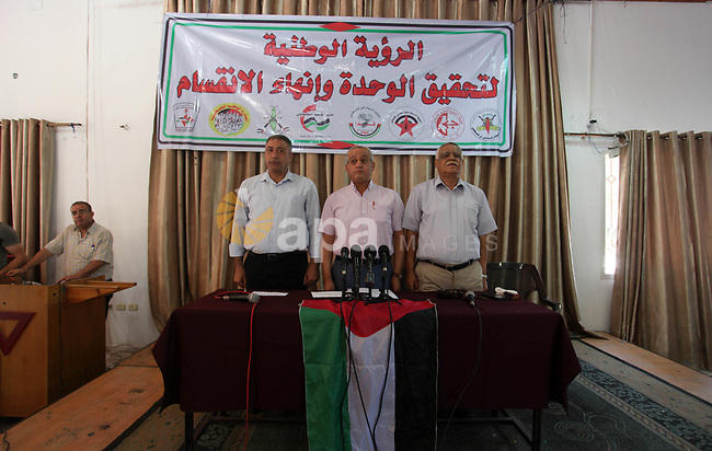 Leaders of Palestinian National and Islamic forces attend a meeting in Gaza city on October 20, 2019. Photo by Mahmoud Ajjour