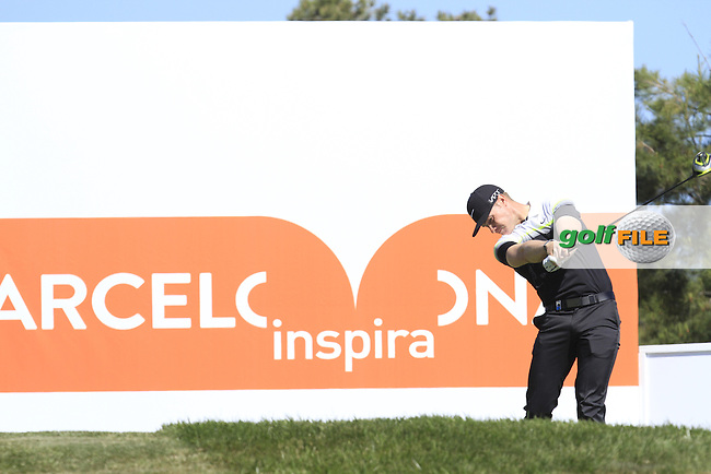 Oliver Fisher (ENG) on the 5th tee during Round 2 of the Open de Espana  in Club de Golf el Prat, Barcelona on Friday 15th May 2015.<br /> Picture:  Thos Caffrey / www.golffile.ie