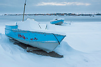 Boat pulled out of the sheltered harbor at Kaktovik on Barter Island.