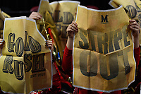 College Park, MD - March 25, 2019: Maryland Terrapins fans hold up newspapers during the introduction of the UCLA Bruins before second round game of NCAAW Tournament between UCLA and Maryland at Xfinity Center in College Park, MD. UCLA advanced to the Sweet 16 defeating Maryland 85-80.(Photo by Phil Peters/Media Images International)