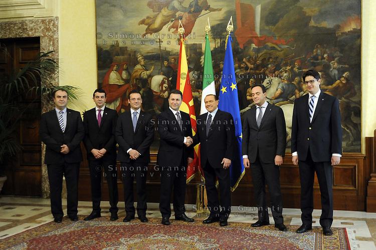 Roma 5 Ottobre 2011.Palazzo Chigi.Il Presidente Silvio Berlusconi con il  del Primo Ministro della Macedonia,Nikola Gruevski
