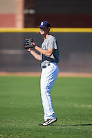 San Diego Padres pitcher Mason Thompson (27) during an Instructional League camp day on October 4, 2016 at the Peoria Sports Complex in Peoria, Arizona.  (Mike Janes/Four Seam Images)