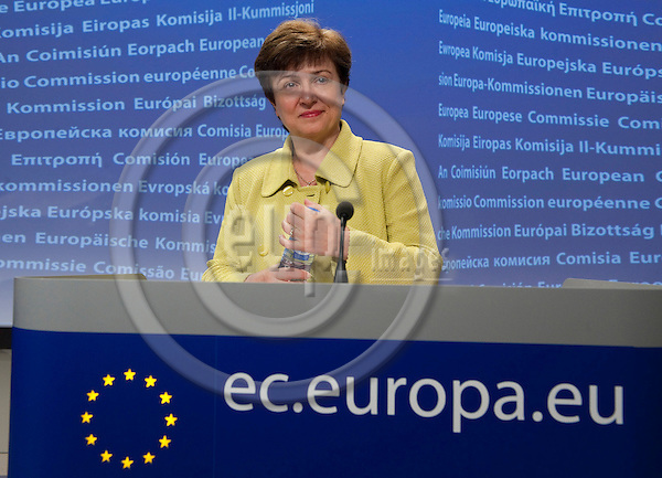 Brussels-Belgium - June 02, 2010 -- Kristalina GEORGIEVA, European Commissioner from Bulgaria and in charge of International Cooperation, Humanitarian Aid and Crisis Response, during a press conference in the HQ of the EC -- Photo: Horst Wagner / eup-images