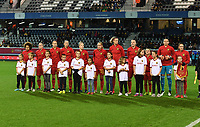 20191112 - LEUVEN , BELGIUM : Belgian players pictured with the players children mascots during the female soccer game between the Belgian Red Flames and Lithuania , the fourth womensoccer game for Belgium in the qualification for the European Championship round in group H for England 2021, Tuesday 12 th November 2019 at the King Power Stadion Den Dreef in Leuven , Belgium. PHOTO SPORTPIX.BE | DAVID CATRY