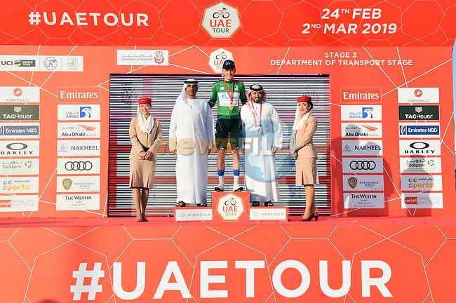 Stepan Kuriyanov (RUS) Gazprom–Rusvelo also takes over the Green Jersey at the end of Stage 3 of the 2019 UAE Tour, running 179km form Al Ain to Jebel Hafeet, Abu Dhabi, United Arab Emirates. 26th February 2019.<br /> Picture: LaPresse/Massimo Paolone | Cyclefile<br /> <br /> <br /> All photos usage must carry mandatory copyright credit (© Cyclefile | LaPresse/Massimo Paolone)