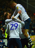 Preston North End's Louis Moult celebrates scoring his side's third goal with his team-mates<br /> <br /> Photographer Richard Martin-Roberts/CameraSport<br /> <br /> The EFL Sky Bet Championship - Preston North End v Blackburn Rovers - Saturday 24th November 2018 - Deepdale Stadium - Preston<br /> <br /> World Copyright © 2018 CameraSport. All rights reserved. 43 Linden Ave. Countesthorpe. Leicester. England. LE8 5PG - Tel: +44 (0) 116 277 4147 - admin@camerasport.com - www.camerasport.com