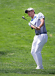 Collin Morikawa hits a chip hot on the 18th hole during the Barracuda Championship PGA golf tournament at Montrêux Golf and Country Club in Reno, Nevada on Friday, July 26, 2019.