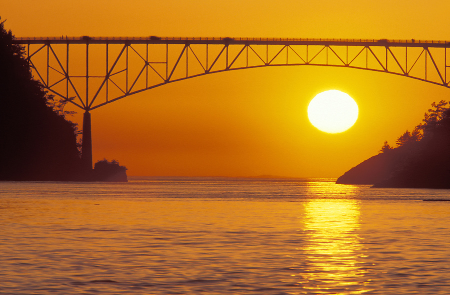 Sunset behind Deception Pass Bridge, Deception Pass State Park, Washington
