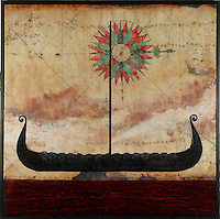 Viking ship photo transfer over antique map with compass rose and encaustic painting.